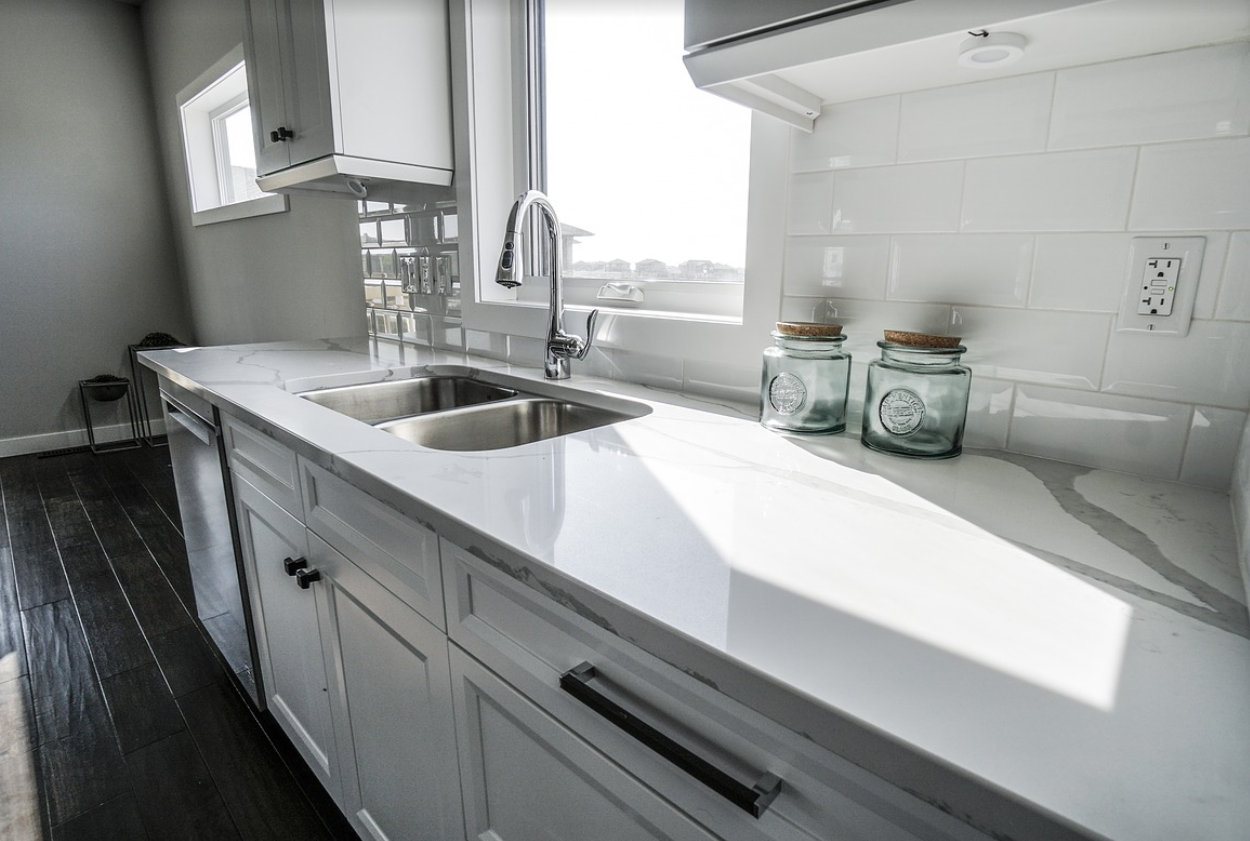 White kitchen with white countertop