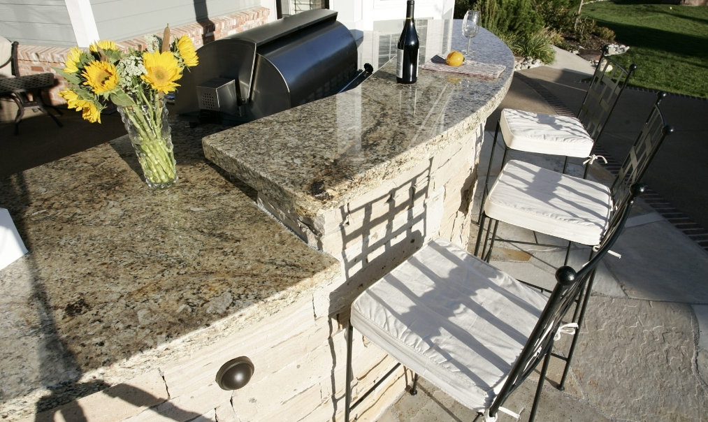Lava stone countertop for BBQ area by Art Pablo