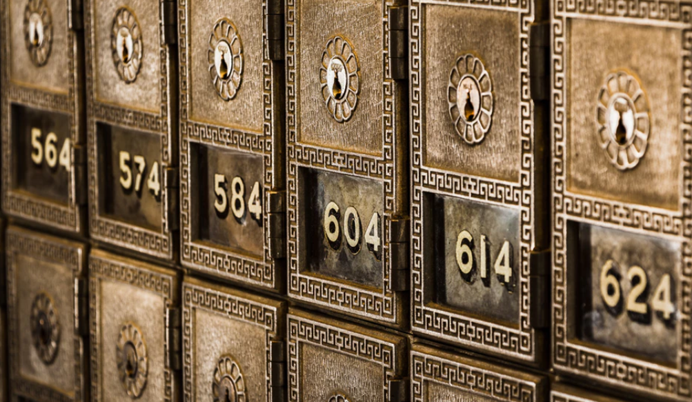 Bank safety deposit boxes with numbers
