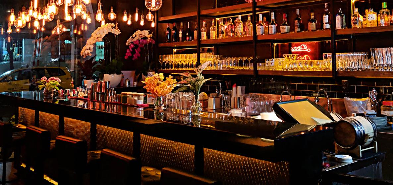 Bar top with warm lighting