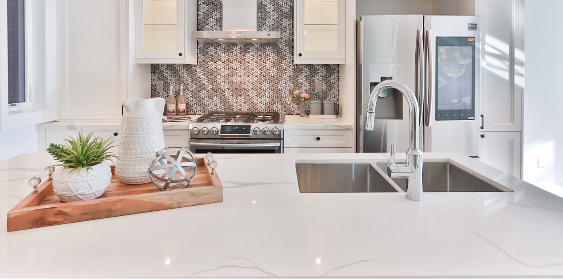 Modern kitchen marble countertop