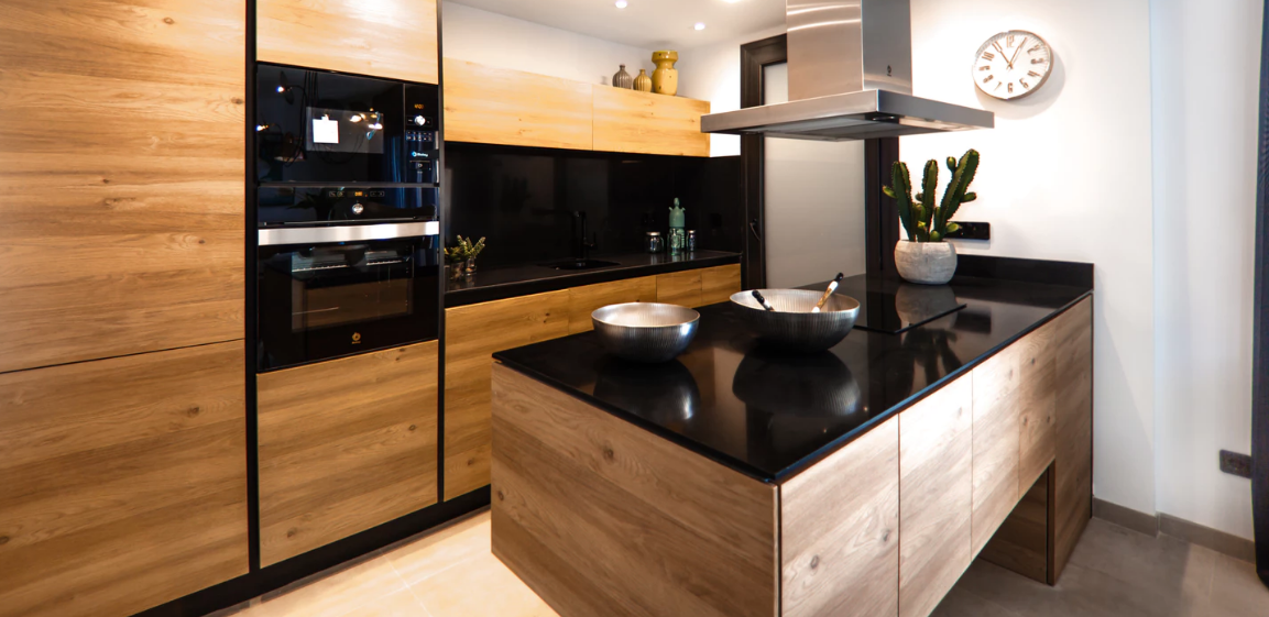 Black kitchen countertop