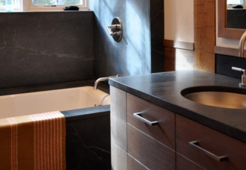 Soapstone countertop and bathtub
