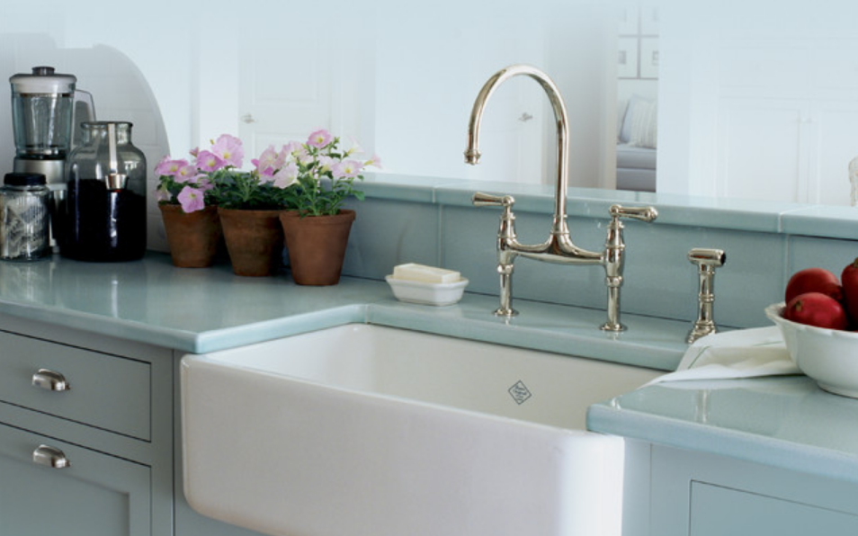Pale blue kitchen countertop