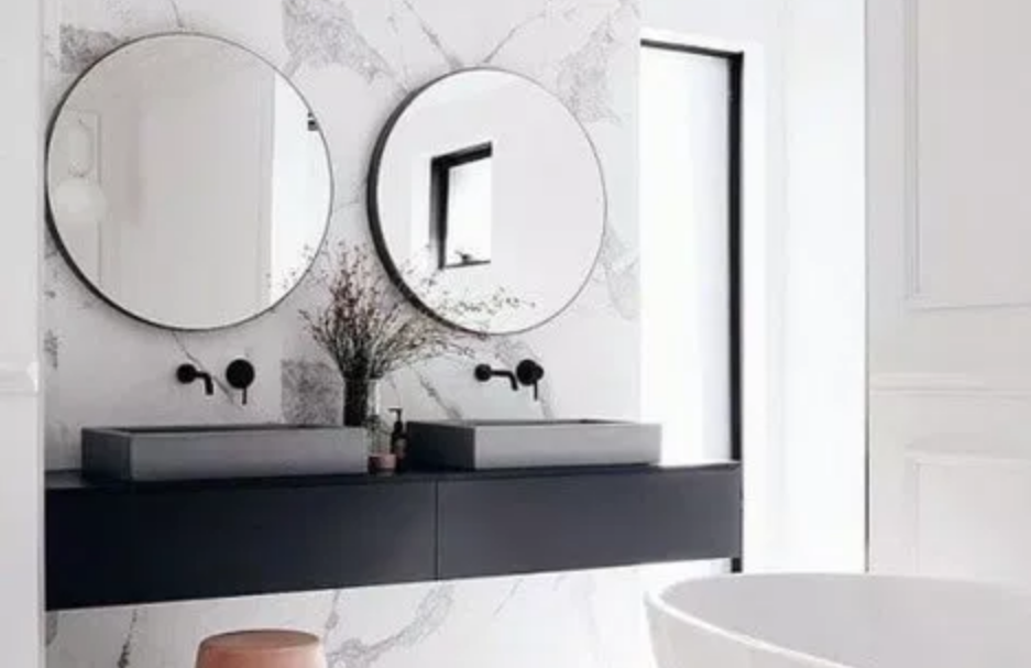 Black marble bathroom counter