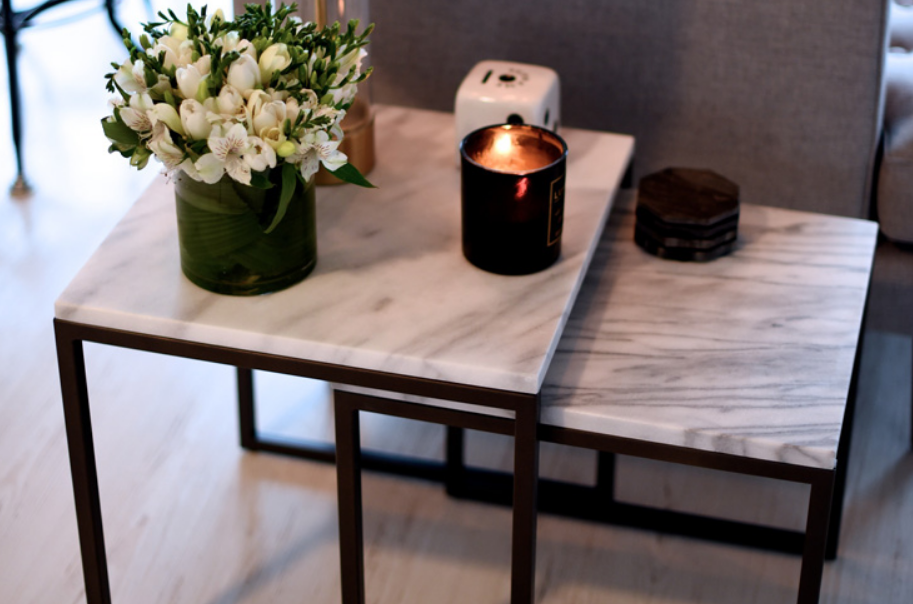 Marble topped end tables