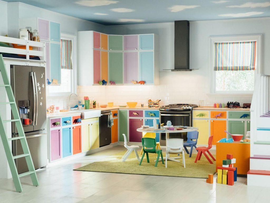 Kitchen with various pastel colors
