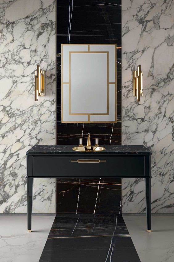 White and black marble bathroom