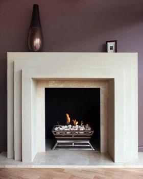 Minimalist marble stone fireplace