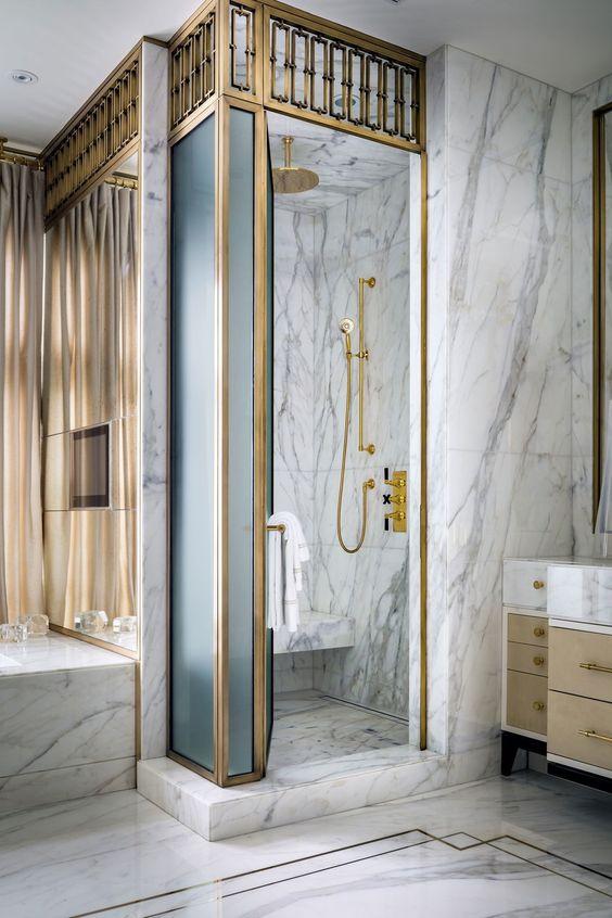 White marble vintage inspired bathroom