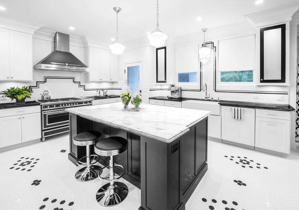 White marble kitchen counter top