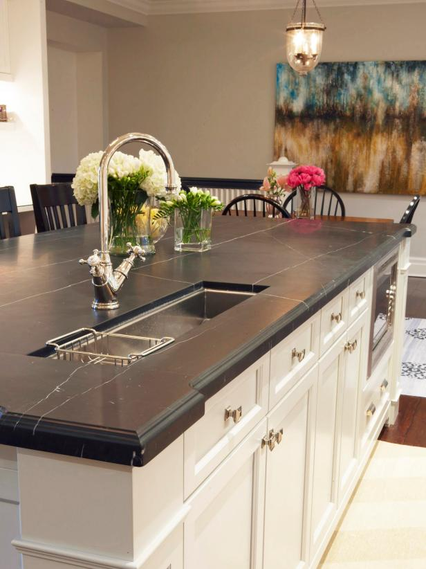 Kitchen island with black marble