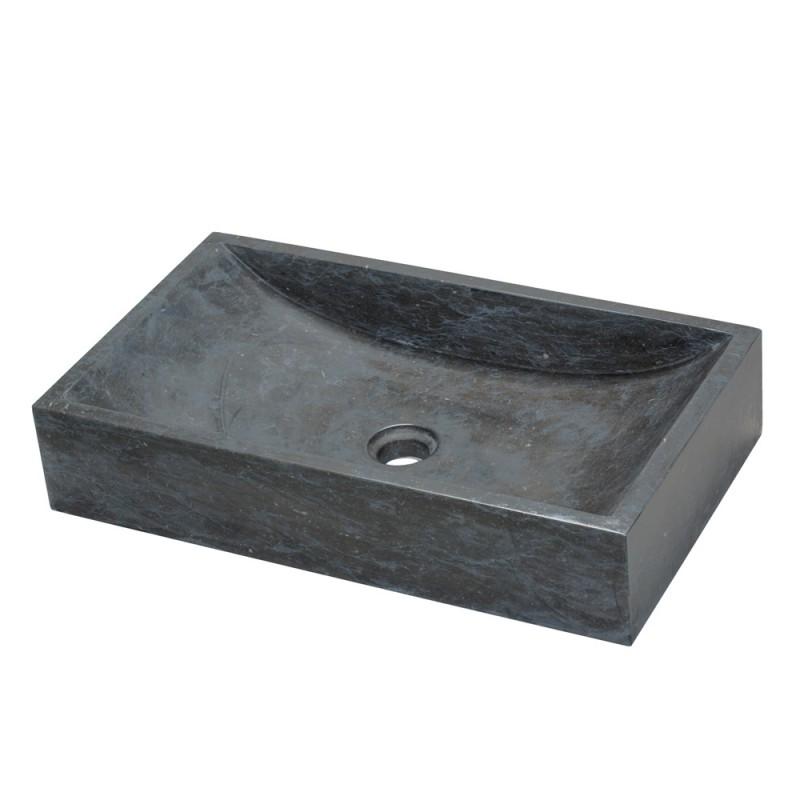 Countertop wash basin Satun in natural black stone