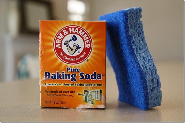 baking soda and sponge