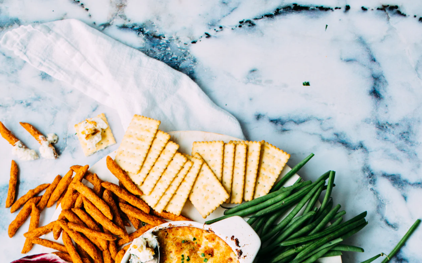 Platter of food, marble countertop