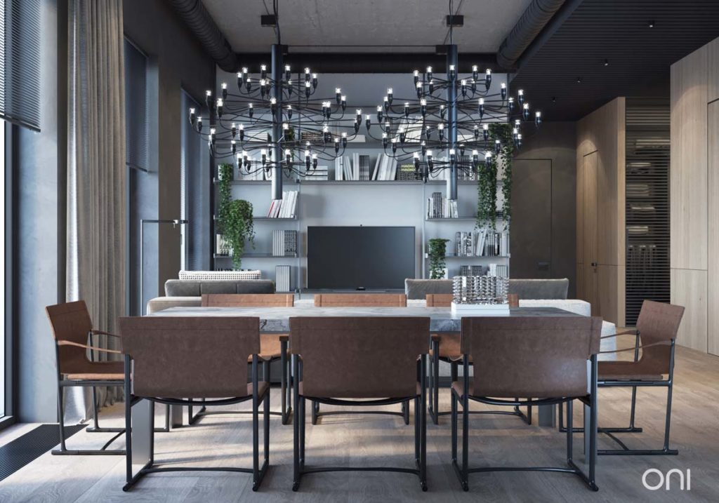 Dining room with pendant lights