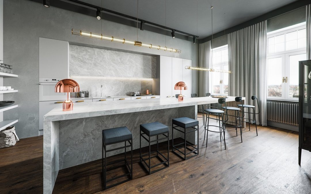 Design Gallery: Industrial Style Homes With Stone Countertops